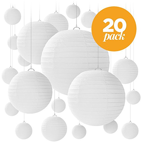 20 White Paper Lanterns for Weddings, Birthdays, Parties and Events - Assorted Round Sizes of 6', 8', 10' and 12' - By Avoseta.