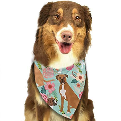 CURTE Boxer Dog Flowers Florals Mint Cute Flowers Dog Bandana Triangle Bibs Bright Coloured Scarfs -