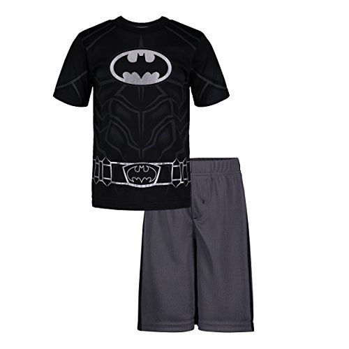 (Warner Bros Batman Little Boys' Athletic Performance T-Shirt & Mesh Shorts Set, Silver (5))