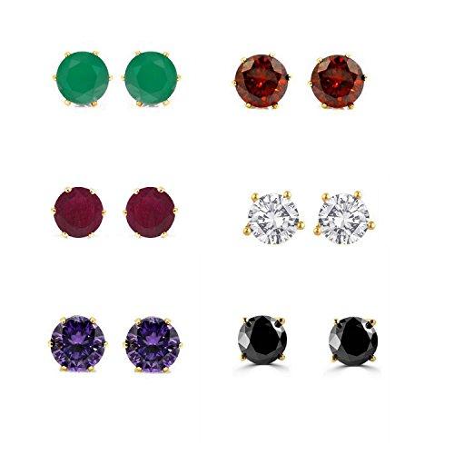 Real Pierced Earrings - Efulgenz Jewelry 14K Gold Plated Hypoallergenic Cubic Zirconia Stud Earrings Set for Pierced Ears(6 pairs)