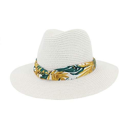 CORATO Plain Paper Straw Jazz Hat Flat Brim Beach Hats Protection Sunshade Hat Fedoras with Paste Cloth Ribbon Band Men Women - Straws Paper Bandana