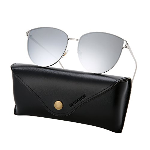 Mirrored Sunglasses for Women, Cat Eye Sunglasses, Rimless Sunglasses with Sunglasses Case - Sunglasses Have I
