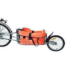 HOMCOM Solo Single-Wheel Bicycle Cargo Bike Trailer Cart Carrier, Orange
