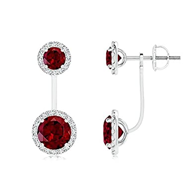 Angara Round Garnet Diamond Halo Dangle Earrings in Platinum