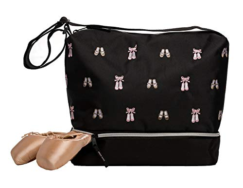 Ballet Shoe Bag - Horizon Dance 5602 Daisy Embroidered Ballet and Tap Dance Small Gear Tote Bag with Shoe Compartment