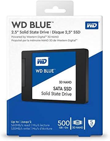 """Western Digital 500GB WD Blue 3-d NAND Internal PC SSD - SATA III 6 Gb/s, 2.5""""/7mm, Up to 560 MB/s - WDS500G2B0A"""