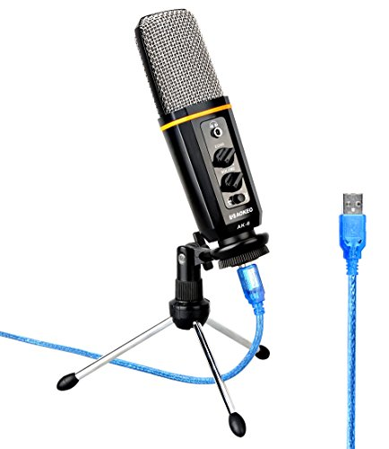 Aokeo's AK-6 Desktop USB Condenser Microphone, Best For Live Podcasting, Broadcasting, Skype, YouTube, Recording, Singing, Streaming, Video Call, Conference, Gaming, Etc. With Mount Stand, Plug & Play by aokeo