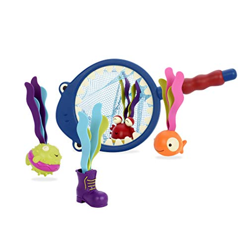 B toys by Battat - Shark Scoop-a-Diving Pool Toys - 1 Shark Net and 4 Water Toys for kids 3+ (5-Pieces)