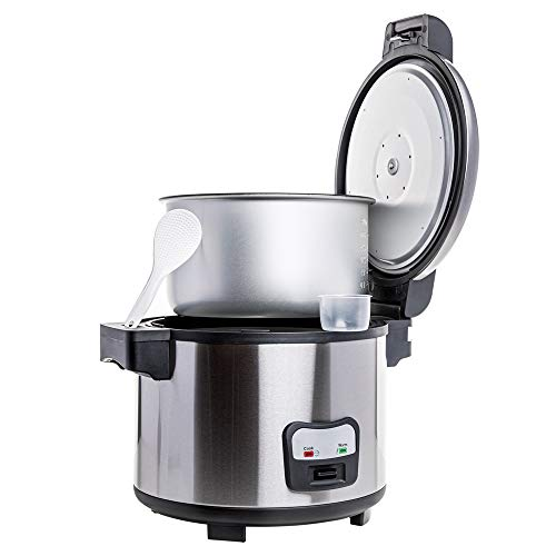 SYBO Commercial Grade Rice Cooker/Warmer, 60 Cups with Hinged Lid, Stainless Steel Exterior, Non-Stick Insert Pot