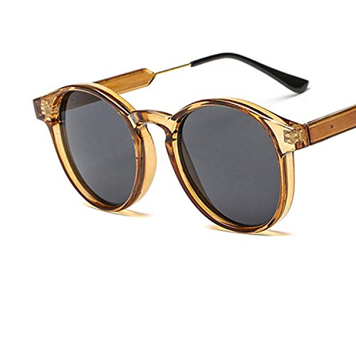 Unisex Retro Round Sunglasses Women Brand Designer Trending Products Leopard Yellow Transparent Frame Circle ()