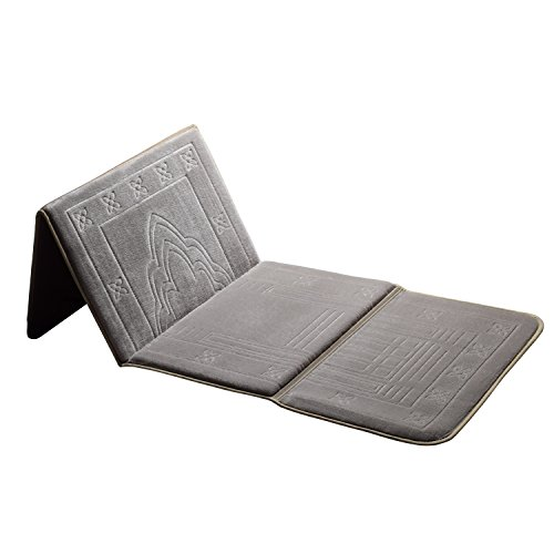 Muslim Prayer Carpet,Deserthome Fold Islam Portable Prayer Rugs with Storage Bag Back Carpet (Silver Grey) - Prayer Carpet