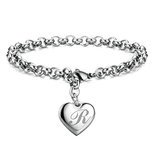 Initial Charm Bracelets Stainless Steel Heart 26 Letters Alphabet Bracelet for Women