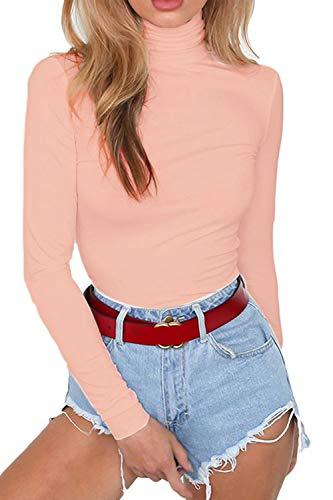 Meyeeka Juniors Bodycon High Neck Thong Plus Size Long Sleeve Clubwear Romper Pink XL ()