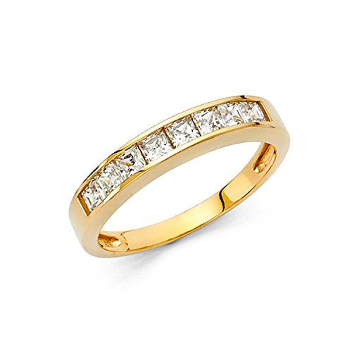 Size 9 - 2.5mm Solid 14K Yellow Gold Princess Cut Channel Invisible Set Wedding Band Ring (1.0 ()