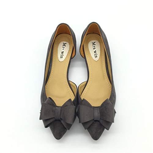 Chaussures Bas Simples Flock Dames sur Sexy Gris Bowtie Talons Femmes Les Pompes Bout Chaussures Talons Chaussures Glisser Bas Femmes JRenok Pointu xnfYaHwCAq