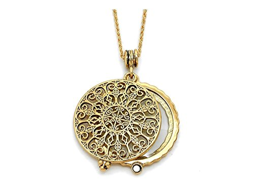 Artisan Owl Ornate Filigree 4X Magnifier Magnifying Glass Sliding Top Magnet Pendant Necklace, 30