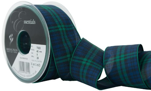Berisfords 40 mm Polyester Tartan Ribbon, Black Watch -