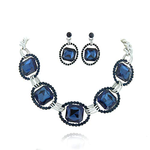 SP Sophia Collection Austrian Crystal Women's Chunky Chain Necklace and Earrings Jewelry Set Rhodium Navy