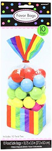 Amscan Rainbow Stripe Cello Party Bags Party Supplies, Multicolor, 10 3/4