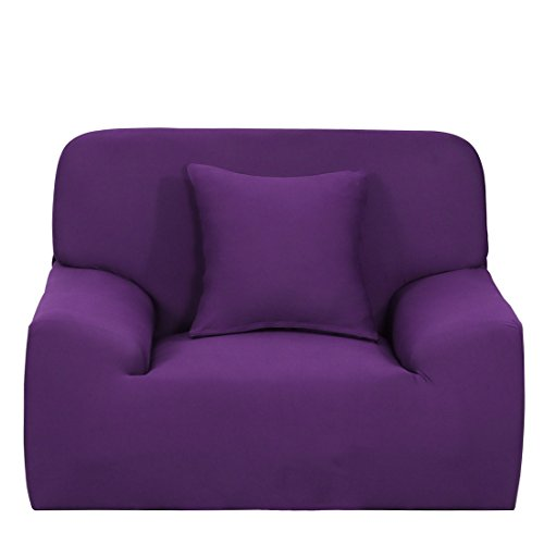 uxcell Stretch Sofa Slipcover Sofa Cover 1 Seater Protectors Couch Cover Featuring Soft Form Fit Slip Resistant Chair Cover 35-55 Inches Purple With 1pcs Cushion Cover (Covered Slip Sofa)