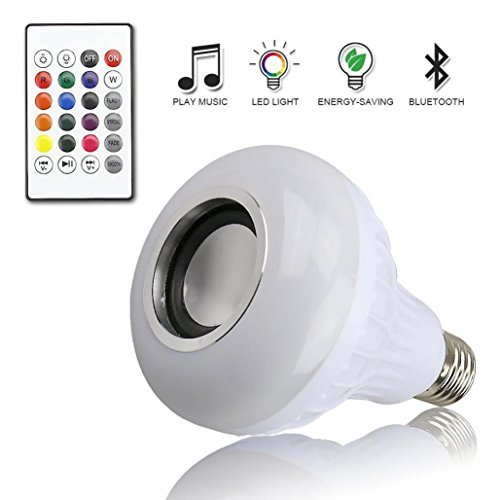 Remote-Controlled Music Led Light Bulb with Bluetooth Speaker RGB Built-in Audio Speaker,Tuscom (White + RGB)