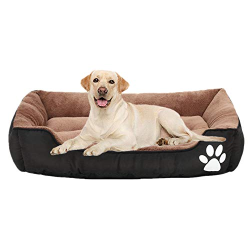 Pet Bed 32 24 7.2 Inches Orthopedic Memory Foam Dog Bed, Ideal for Small Medium Pets, Rectangle Washable Pet Sofa Bed with Firm Breathable Cotton, Dogs, Cats, Deep Sleeping Orthopedic Bed Brown Black