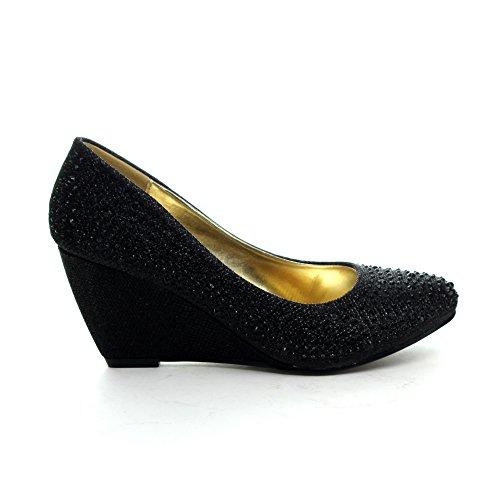 Easos Geal Fegq208 Dames Glitters Bezaaid Amandel Teen Sleehak Pumps Zwart