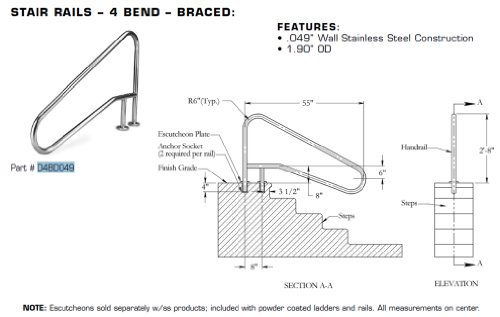 Inter-Fab D4BD049 Deck to Deck Mounted 4 bend Stainless ...
