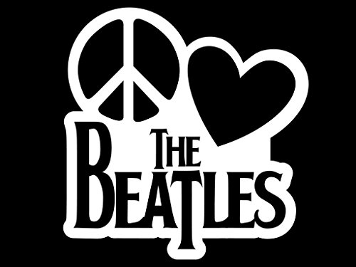 Past Costume Ideas (Peace Love The Beatles Vinyl Decal Sticker | Cars Trucks Vans Walls Laptops Cups | White | 5.5 X 5.3 Inch | KCD1635W)