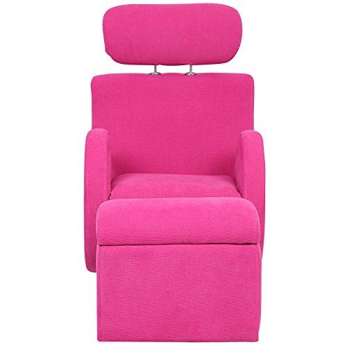 Merax Plum Purple Kids Fabric Rocking Chair With Storage Ottoman