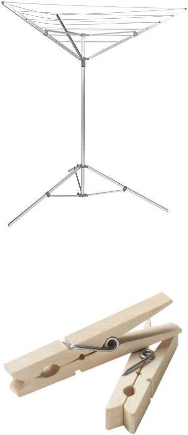 Household Essentials Portable Umbrella Drying Rack Bundle | Aluminum | Includes 96 ct Clothespins