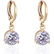 Round Crystal 18k Gold Plated Earrings Stud Women Jewelry + 925 Sterling Silver Earnuts Gs0461...