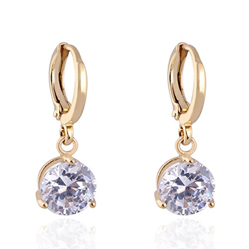 Round Crystal 18k Gold Plated Earrings Stud Women Jewelry + 925 Sterling Silver Earnuts Gs0461 (GS0461-4)