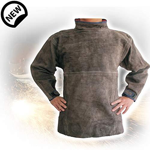 TBDLG Cowhide Leather Welding Jacket,Adjustable Work Jacket,Heat Resistant with Sleeves for Industry, Welder, Garden, Carpenter, Workshop, Decoration, Painter, Unisex,XL