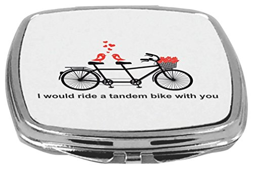[Rikki Knight Compact Mirror, I Would Ride a Tandem Bike with You, 5 Ounce] (5 Compact Bike)