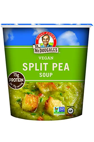 Dr. McDougall's Right Foods Vegan Split Pea Soup, 2.5 Ounce Cups (Pack of 6) Gluten-Free, Non-GMO, No Added Oil, Paper Cups From Certified Sustainably-Managed Forests (Best Vegetarian Split Pea Soup)