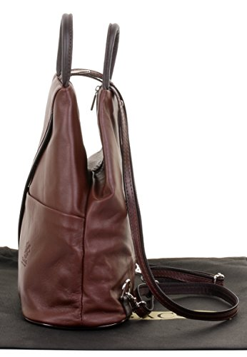 Napa Leather Bag Backpack amp; Brown Primo Sacchi Rucksack Brown Italian Shoulder Soft Dark Handle Top FTtn4Cqwx