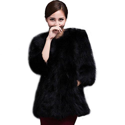 Fur Story Women's Long Real Raccoon Fur Coat 3/4 Sleeve B...