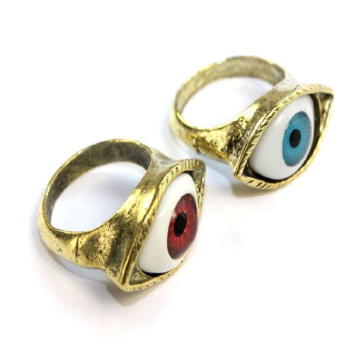 2014 Susenstore 2pcs Punk Rock Fashion Jewelry Vintage Retro Exaggerated Blue Coffee Eye Ring