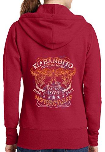 Womens El Bandito Full Zip Hoodie, Red, 3X