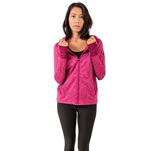 RBX Active Womens Fleece Full Zip Hooded Sweatshirt Pink M