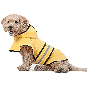 Fashion Pet Dog Raincoat For Small Dogs | Dog Rain Jacket With Hood | Dog Rain Poncho | 100% Polyester | Water Proof | Yellow w/ Grey Reflective Stripe | Perfect Rain Gear For Your Pet! by Ethical Pet 12