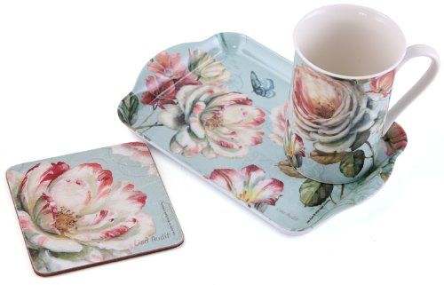 ROMANTIC GARDEN Time For Tea MUG Coaster & TRAY Shabby Chic GIFT SET New