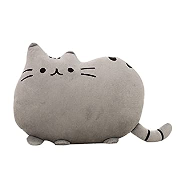 Cartoon Cat Shaped Throw Pillow Home Decorative Cushion Child Soft Plush Toy (Grey)
