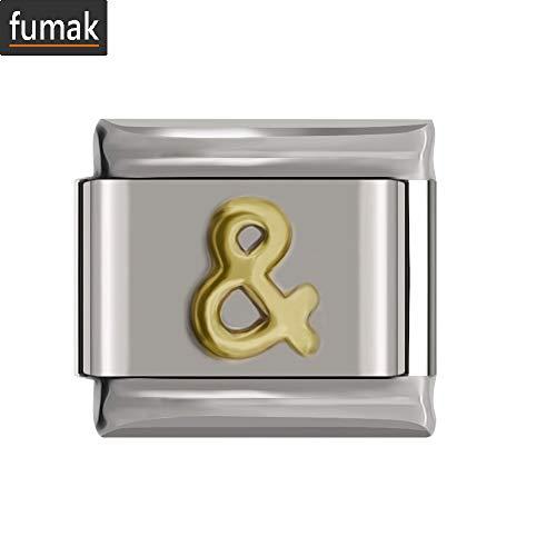 - fumak Pandora Bracelet Charms - 9mm Width Original Daisy Heart Flower Butterfly Cross Green Italian Charm Bracelet Stainless Steel Jewelry Making (4-Gold Symbol)