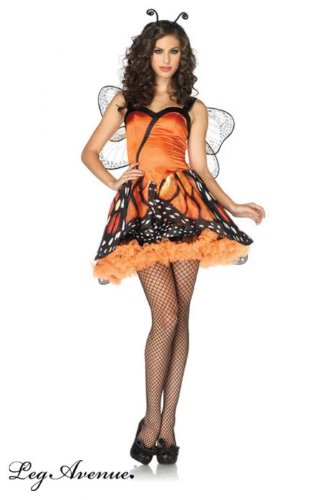 [Womens Sexy Lovely Monarch Butterfly Costume M] (Orange Adult Butterfly Costumes)