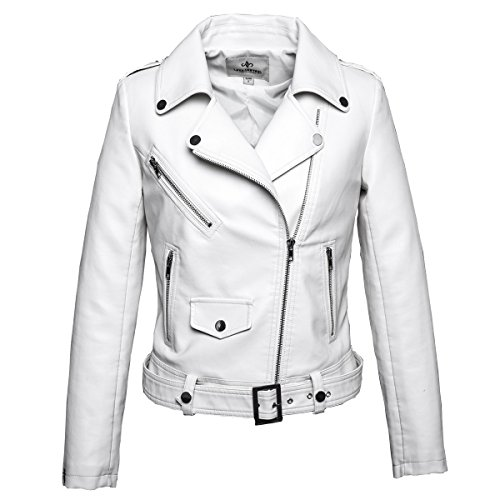 White Leather Biker Jacket - 9