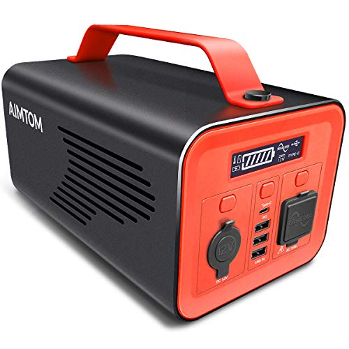 AIMTOM 230Wh 62400mAh Portable Power Station Solar Rechargeable Battery Pack Generator w/ 110V 200W...