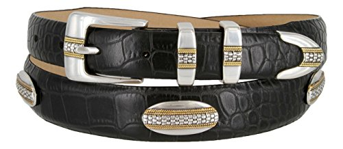 [St. Andrews Gold - Italian Alligator Embossed Golf Belt with Conchos (Alligator Black, 42)] (Gold Concho Belt)