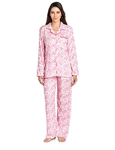 - Casual Nights Women's Long Sleeve Floral Pajama Set - Pink - Large